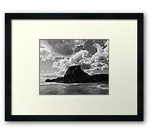 lion rock at piha redux Framed Print