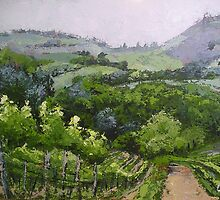 Tuscan  Vinyard  Palette Knife Painting by Chris Hobel
