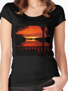 Murray River Sunset near Loxton, S.A. Women's Fitted Scoop T-Shirt