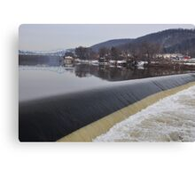 on both sides of the dam in beaver falls Canvas Print