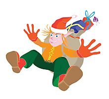 christmas happy elf with gifts Photographic Print