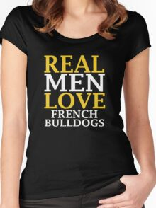 REAL MEN LOVE French Bulldog Dogs Women's Fitted Scoop T-Shirt