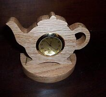 Teapot wooden mini desk clock by FineCrafts