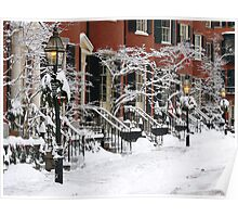 Boston Brownstones - Snow Painted Ladies Poster