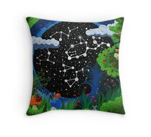 Starry sky, surrounded by grass and trees   Throw Pillow