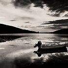 Boat in Black &amp; White water. by Tania Koleska