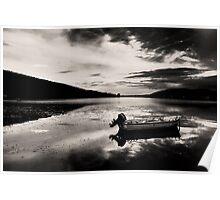 Boat in Black & White water. Poster