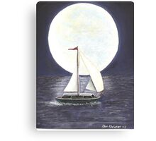 Lake Michigan full moon Canvas Print