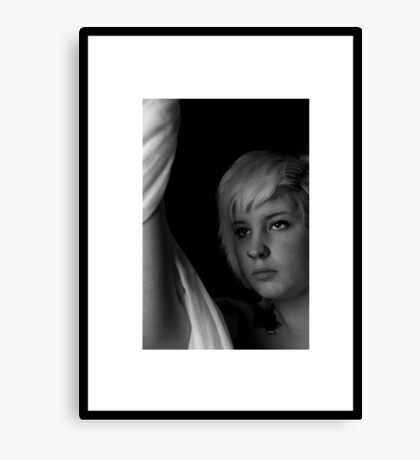black and white portrait Canvas Print