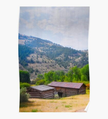 Historic Cabins In Bannack Poster