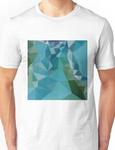 Bright Turquoise Blue Abstract Low Polygon Background Unisex T-Shirt