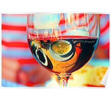 My breakfast is reflected in a glass of dry wine.What is reflects here?? Poster