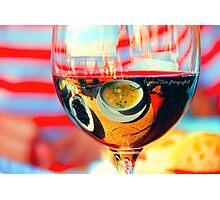 My breakfast is reflected in a glass of dry wine.What is reflects here?? Photographic Print