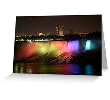 Night lighting of American Falls at Niagara Greeting Card