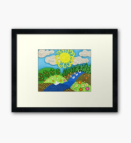 Landscape in the style of Russian fairy tales with blue river Framed Print