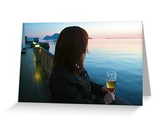 Drinking a beer, Aalesund, Norway Greeting Card