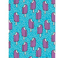 Bite Me - popsicle throwback 80s style memphis dots pattern trendy hipster summer ice cream Photographic Print