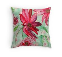 The Red Flowers for Christmas Throw Pillow