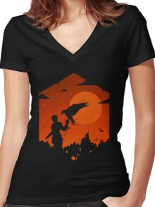 Valley Of Fire Women's Fitted V-Neck T-Shirt