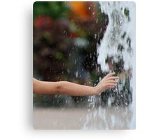 Childs Hand in Water Canvas Print