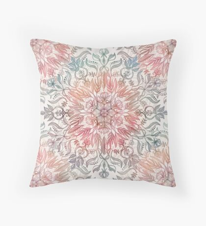 Autumn Spice Mandala in Coral, Cream and Rose Throw Pillow