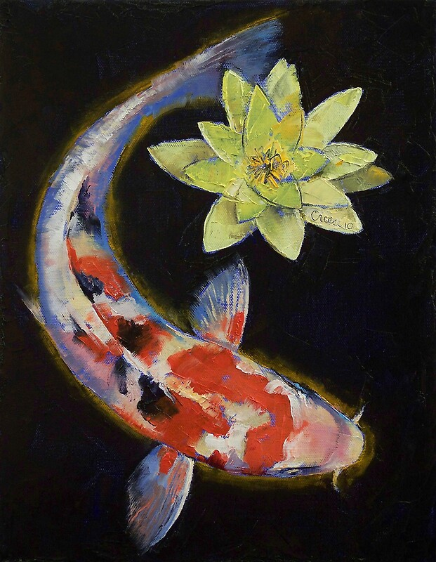 Koi with yellow water lily photographic prints by for Coy fish painting