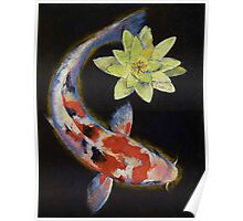 Koi with Yellow Water Lily Poster