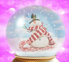 Snowman snowglobe Christmas card by Julia Harwood