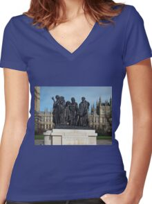 The Burghers Of Calais, in London, by Rodin Women's Fitted V-Neck T-Shirt