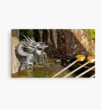 Japanese temple, water dragon, water fountain.  Canvas Print