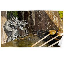 Japanese temple, water dragon, water fountain.  Poster