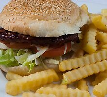 Burger and Chips by Jojie Certeza