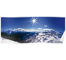 Sunburst over Mt Feathertop and Mt Jaithmathang Poster