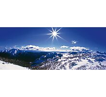 Sunburst over Mt Feathertop and Mt Jaithmathang Photographic Print