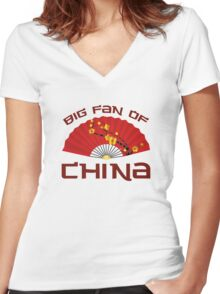 Big Fan Of China Women's Fitted V-Neck T-Shirt