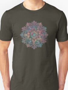 Winter Sunset Mandala in Charcoal, Mint and Melon Unisex T-Shirt