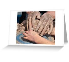 Father and Daughter, Hands In Clay Greeting Card