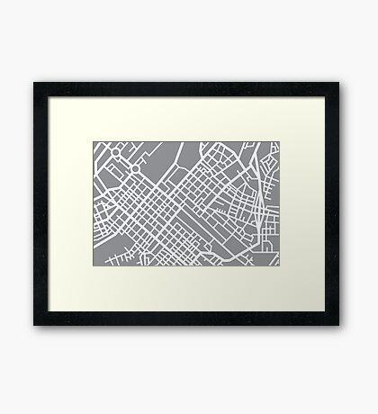 Minimal Maps (Grey) - Cape Town S.A. Framed Print