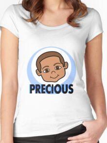 Cute Cartoon Smiling Boy Women's Fitted Scoop T-Shirt