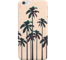 Neon Lined Black Palm Trees on Peach Horizon iPhone Case/Skin