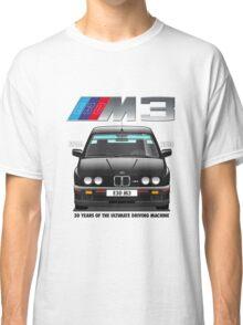 BMW E30 M3 30th Anniversary (Black Sport Evo) Black Text Classic T-Shirt