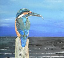 Fishing post, Kingfisher of Eftalou. by Eric Kempson