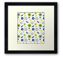 Floral pattern lime navy yellow Framed Print