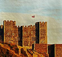 Dover Castle in late evening sunlight by buttonpresser