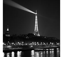 Night View Over the River Seine Photographic Print