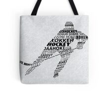 Typographic Hockey Player Languages   Tote Bag