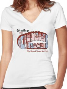 Greetings from Cinnabar Island Women's Fitted V-Neck T-Shirt