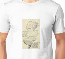 Old map of Jersey Unisex T-Shirt