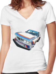 BMW E9 CSL Batmobile - Works Livery Women's Fitted V-Neck T-Shirt
