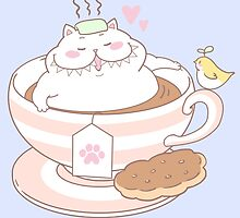 Great Chubby Cat in a teacup by Hikaru Yagi